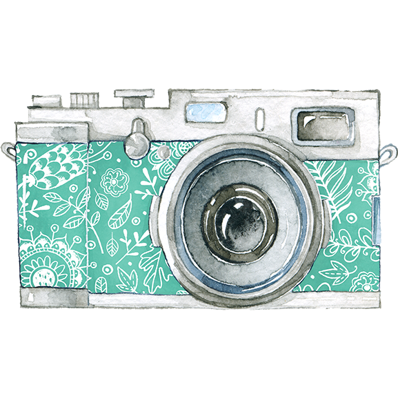 Classic 80's camera with green printed camera body; temporary tattoo.