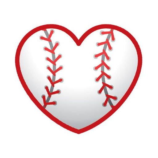 Heart with stitches to make it look like a baseball; temporary tattoo.