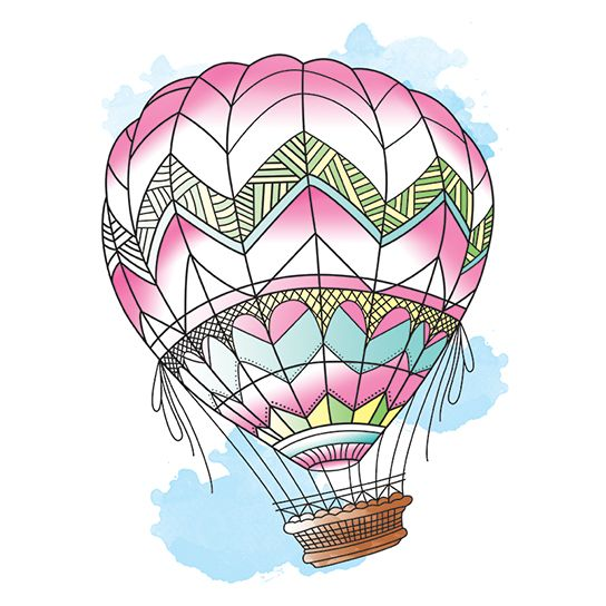 Hot air balloon with pink, yellow, and sky blue colors; temporary tattoo.