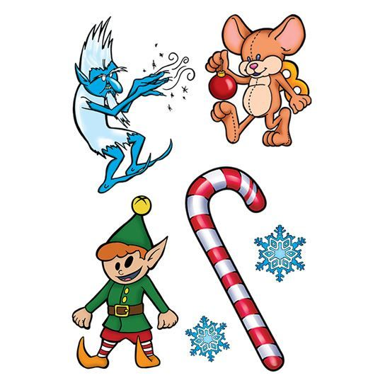 Jack Frost Holiday Temporary Tattoo Set
