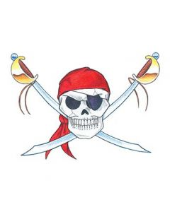Jolly Roger Skull Temporary Tattoo