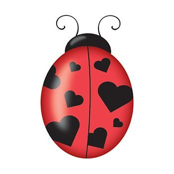 Top view of a lady bug with black spots shaped like hearts; temporary tattoo.