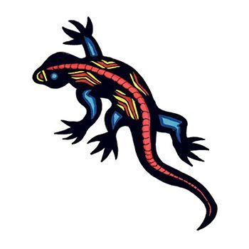 Black lizard with red and yellow artistic pattern on the back; temporary tattoo.