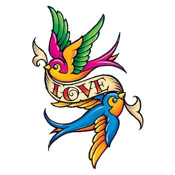 Love Birds Temporary Tattoo