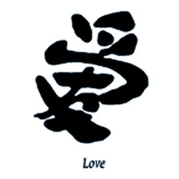 Asian symbol for Love temporary tattoo.