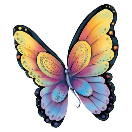 Yellow, orange, purple, and blue butterfly with spots of gold foil; temporary tattoo.