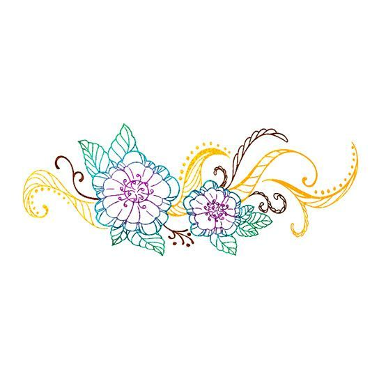 Metallic Flowers Temporary Tattoo