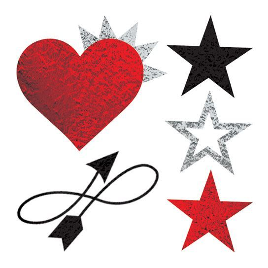 5 metallic temporary tattoos including a red heart, three stars, and a crooked arrow.