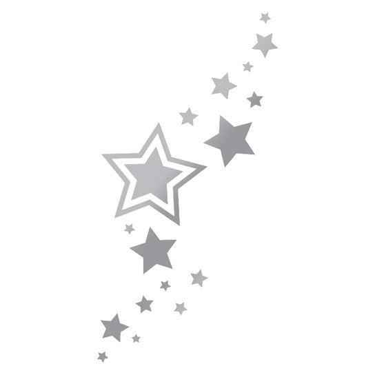 Metallic Silver Stars Temporary Tattoo