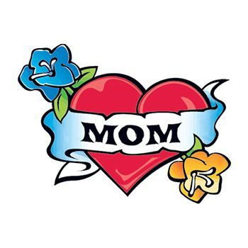 "Red heart with blue and yellow flowers and a banner that says ""MOM""; temporary tattoo."