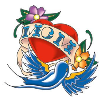 "Red heart with blue sparrow and banner that says ""MOM""; temporary tattoo."