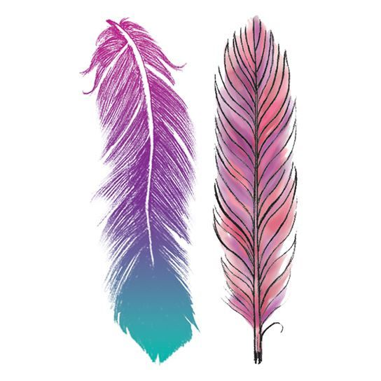 Pastel Feathers Temporary Tattoo