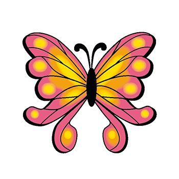 Pink and Yellow Butterfly Temporary Tattoo