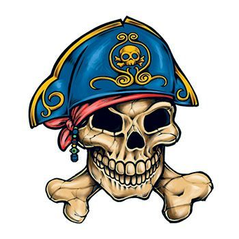 Pirate Hat Skull And Crossbones Temporary Tattoo