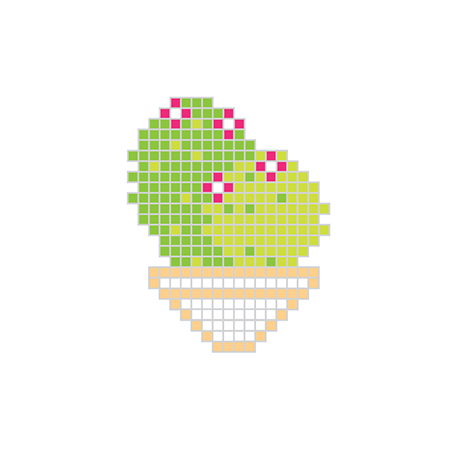 Pixel Cactus With Red Flowers Temporary Tattoo