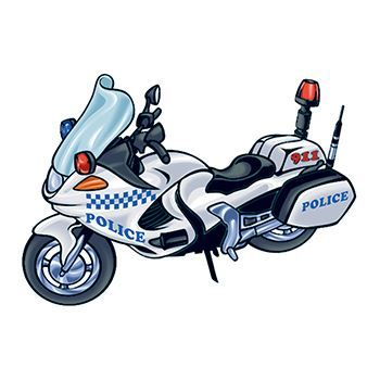 Police Motorcycle Temporary Tattoo
