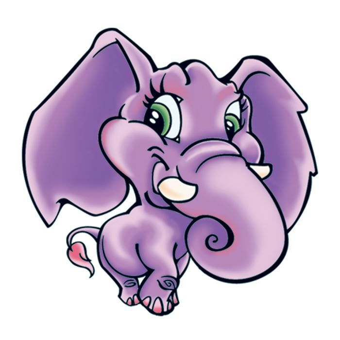 Purple Elephant Temporary Tattoo