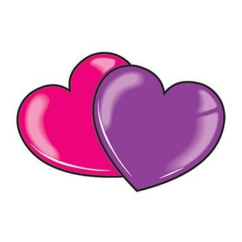 Purple and Pink Hearts Temporary Tattoo