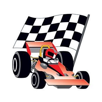 Race Car and Checkered Flag Temporary Tattoo