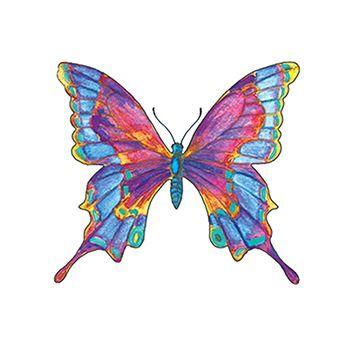 Rainbow Butterfly Temporary Tattoo