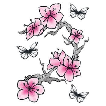 f058dc3f3c56d Realistic Flower and Butterfly Temporary Tattoo