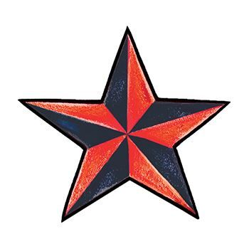 Red and Black Star Temporary Tattoo