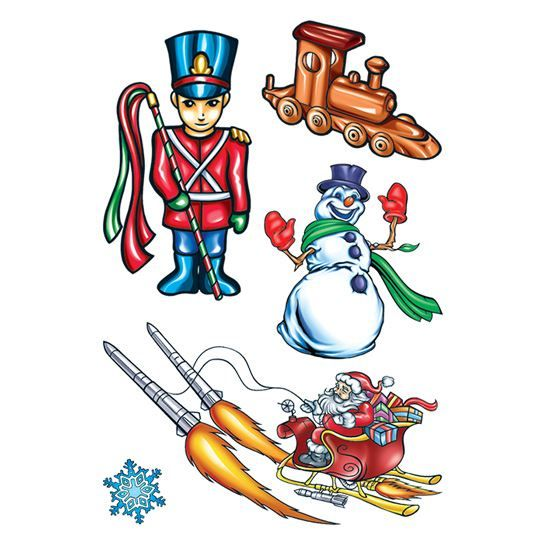 Rocket Christmas Temporary Tattoo