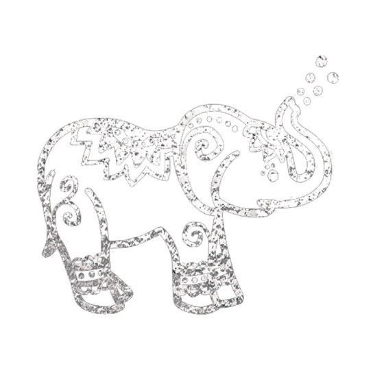Silver Metallic Elephant Temporary Tattoo