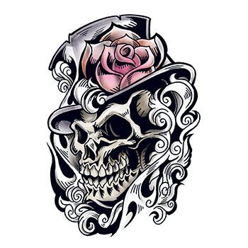 Skull With Rose Hat Temporary Tattoo