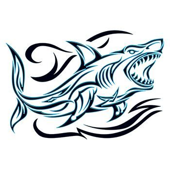 Tribal Shark Outline Temporary Tattoo