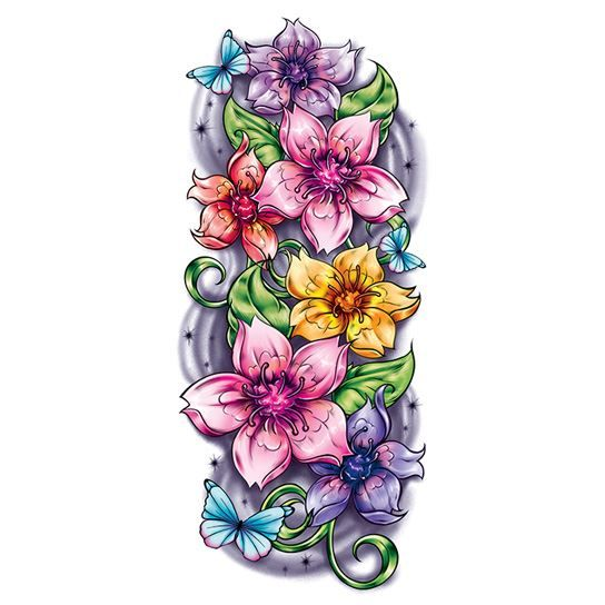 Tropical Flower Sleeve Temporary Tattoo