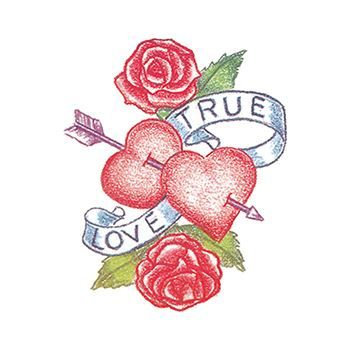 True Love Heart and Flower Temporary Tattoo