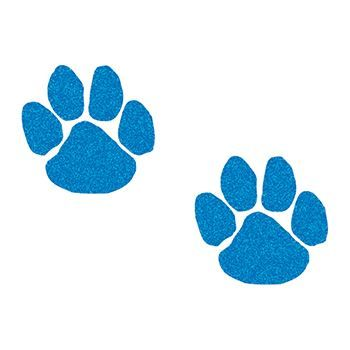 Two small blue paws with glitter coating; temporary tattoo.