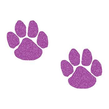 Two Small Purple Glitter Paw Prints Temporary Tattoo