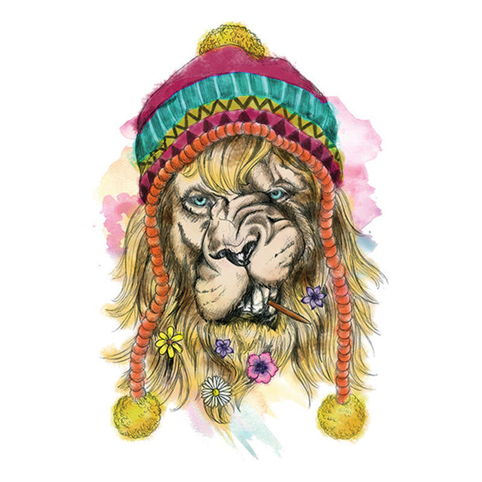 Watercolor Hipster Lion Temporary Tattoo