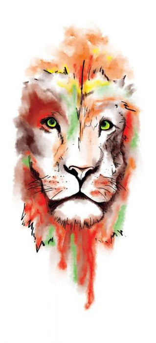 Watercolor Lion Face Sleeve Temporary Tattoo