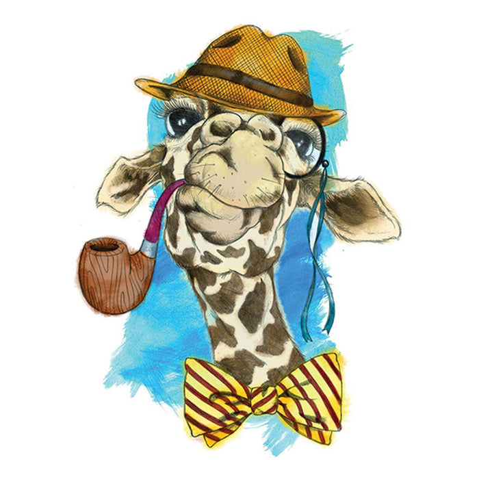 Watercolor Pipe Smoking Giraffe Temporary Tattoo