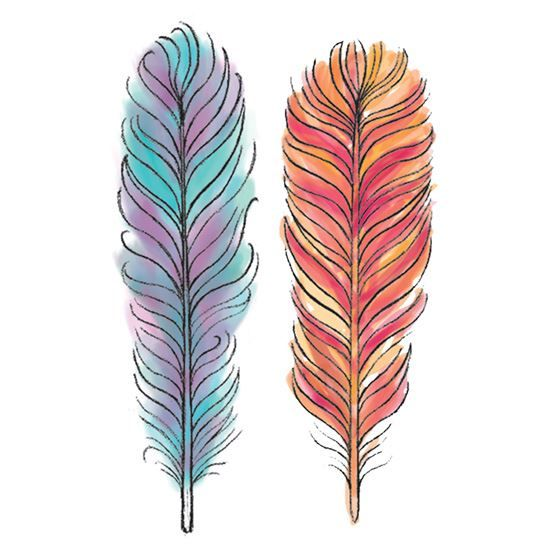 Watercolor Feather Temporary Tattoos