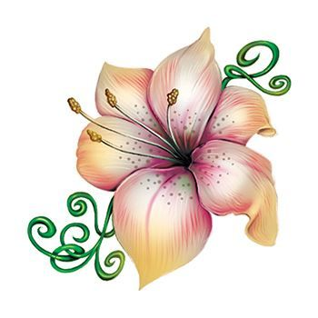 White and Pink Lily Flower Temporary Tattoo