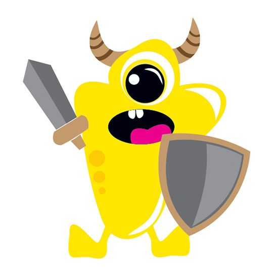 Weird yellow monster with viking horns, a sword, a shield, and only one eye; temporary tattoo.