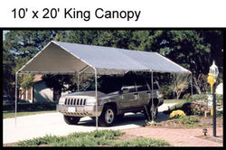 "King Canopy A-Frame Shade King Canopy - 10' x 20' x 8'11"" - 6 Legs - 180 g/m2 Bungee-fit Cover - Silver"