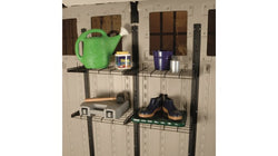 Two Wall Mounted Storage Shed Shelves