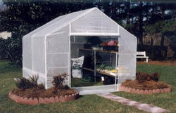 "King Canopy Green House 10' x 10' x 7'11"" - Steel Frame 1 3/8"" Diameter - 6 Leg- 1 Piece Opaque Green House Cover- Zippered Front Door - Rear Vented Window with flap for complete enclosure"