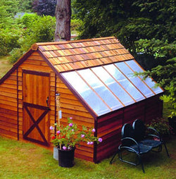Sunhouse Cedar Wood Storage Shed and Greenhouse Combo Kit - 4 Sizes Available