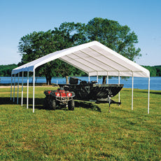 "Shelterlogic 12×26 Canopy, 2"" 10-Leg Frame White Cover"