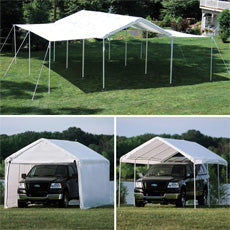"Shelterlogic 10'×20' Canopy, 1-3/8"" 8-Leg Frame, White Cover, Enclosure & Extension Kits"