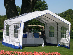 Rhino Party Tent House 14'Wx32'Lx9'H White With Blue Trim