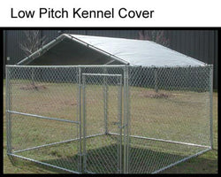 "King Canopy 10x10 Kennel Cover - 9'7"" x 9'7"" X 2' - Steel Frame 1 3/8"" - Silver Taro - Clamps to Dog Kennel. Dog Kennel is not included"