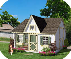 Little Cottage Victorian Cozy Dog Kennel Panelized Kit w/ floor