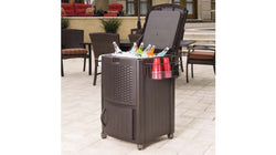 Suncast Resin Wicker Cooler With Cabinet
